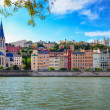Lyon cityscape from Saone river with colorful houses and river — Stock Photo
