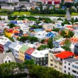 Stock Photo: Reykjavik city bird view of colorful houses