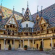 Beaune Hotel Dieu colorfu roofs - Foto Stock