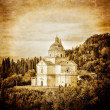 San Biagio cathedral vintage in Montepulciano - Stock Photo