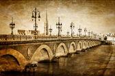 Bordeaux river bridge with St Michel cathedral — Stock Photo