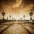 Bordeaux river bridge with railway tracks — Stock Photo