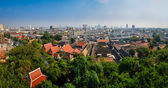 Panoramic aerial view of Bangkok from Golden mount temple — Stockfoto