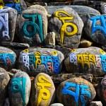 Tibetan religious budhist symbols on stones — Stock Photo #25458223