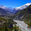 Stock Photo: Himalayas mountain river valley with peaks in background