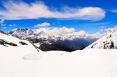 Himalaya bergen panorama landskap syn på annapurna område — Stockfoto