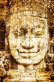 Detail of vintage stone face in the Bayon temple at Angkor Wat — Stock Photo