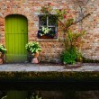 Vintage old wall with green door and flowers — Stock Photo