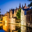 Stock Photo: Water canal and medieval houses at night in Bruges