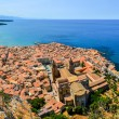 Aerial panoramic view of village Cefalu in Sicily — Stock Photo