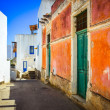 Stock Photo: Mediterranestreet with colorful walls and doors and windows