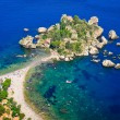 Aerial view of Isola Bella beach in Taormina, Sicily — Stock Photo