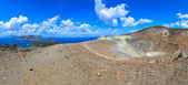 Panoramic view of volcano crater and Lipari islands, Sicily — Stock Photo