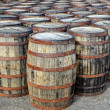 Stacked whisky casks and barrels — Stock Photo
