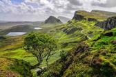 Scenic view of Quiraing mountains in Isle of Skye, Scottish high — Stock Photo