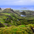 Stock Photo: Scenic view of green Quiraing coastline in Scottish highlands