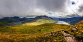 Panoramic view of beautiful lakes and clouds in Inverpolly area, — Стоковое фото