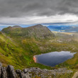 Panoramic view of Scottish highlands, mountains in Loch Assynt — Stock Photo #31907979