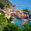 Scenic view of ocean and harbor in colorful village Vernazza, Ci — Stock Photo #32674523