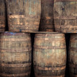 Stacked old whisky barrels — Stock Photo