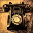 Detail monochrome view of old vintage dial telephone — Stock Photo
