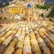 Vertical view of roofs and beautiful village Ragusa in Sicily — Stock Photo