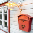 Mail box, window and lamp on a white wooden house  — Stock Photo