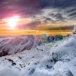 Winter mountains scenic view with frozen snow and icing — Stock Photo
