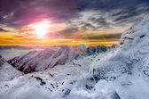 Winter mountains scenic view with frozen snow and icing — Foto de Stock