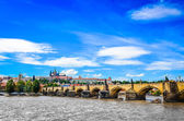 View of Charles Bridge and Prague Castle from the river — Stock Photo