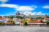 View of colorful old town and Prague castle with river — Stock Photo