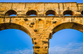Detail of Pont du Gard aquaduct bridge pillars — Stock Photo