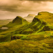 Scenic view of Quiraing mountains sunset with dramatic sky, Scot — Stock Photo