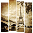 Stock Photo: Eiffel tower vintage retro in stripes, from Seine river, Paris