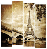 Eiffel tower vintage retro in stripes, from Seine river, Paris — Stock Photo