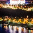 Night skyline of Bratislava with castle and Danube river — Stock Photo