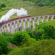 Detail of steam train on famous Glenfinnan viaduct, Scotland — Stock Photo