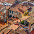 Detail view of traditional Italian town roofs — Stock Photo