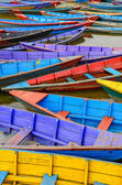 Detail of old colorful sail boats in the lake — Stock Photo