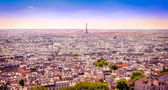Panoramic view of Paris from Montmartre in dreamy postcard style — Stock Photo