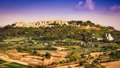 View of Montepulciano town and wine country landscape — Stock Photo