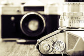 Detail view of classic cameras in monochrome — Stock Photo