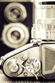 Detail view of classic camera dials with nice bokeh background — Stock Photo