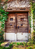 Old wooden textured door and weathered wall — Stock Photo