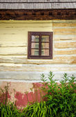 Detail of wooden window on old traditional house — Stock Photo