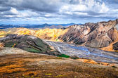 Scenic landscape view of Landmannalaugar colorful mountains — Stock Photo