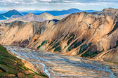 Scenic view of Landmannalaugar colorful mountains and river — Stock Photo