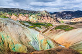 Scenic landscape view of Landmannalaugar colorful volcanic mount — Stock Photo