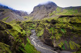 Landscape view of Thorsmork mountains canyon and river, Iceland — Stock Photo