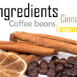 Cinnamon, lemon and coffee beans - Stok fotoğraf